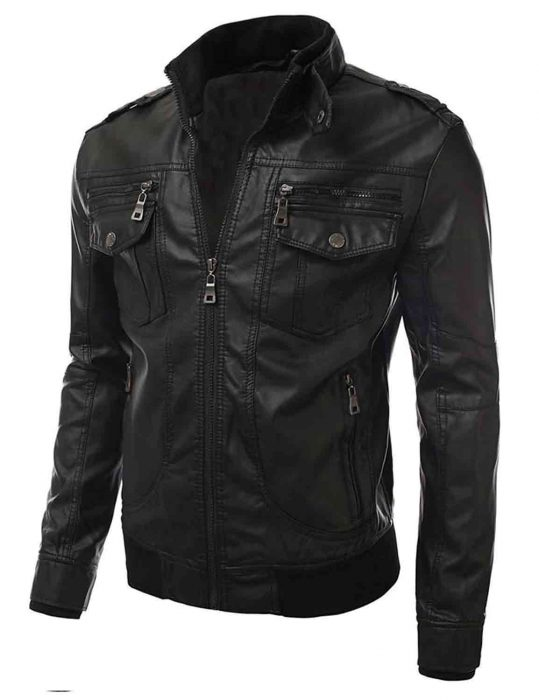 slim fit bomber black jacket