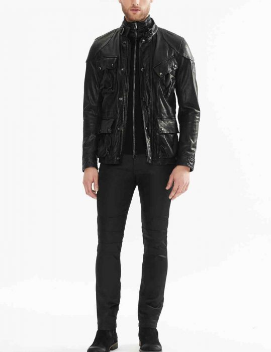 biker style four pocket jacket for mens