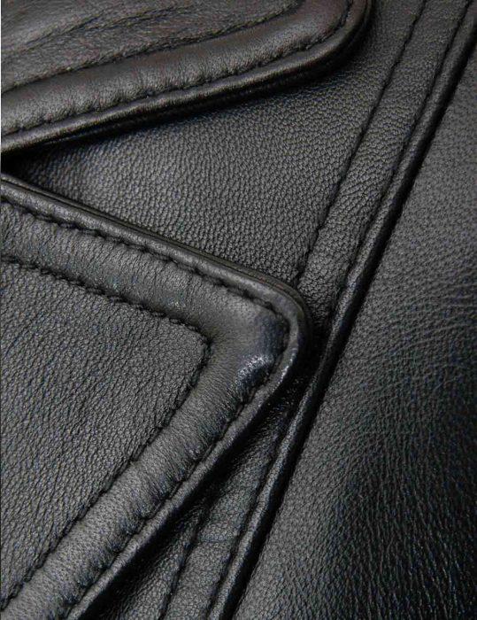classic two button black women's leather blazer