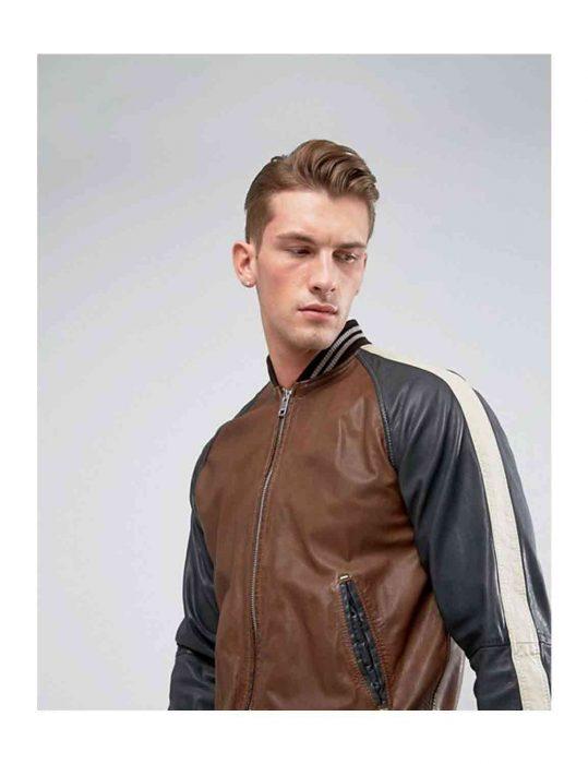 leather bomber moto jacket