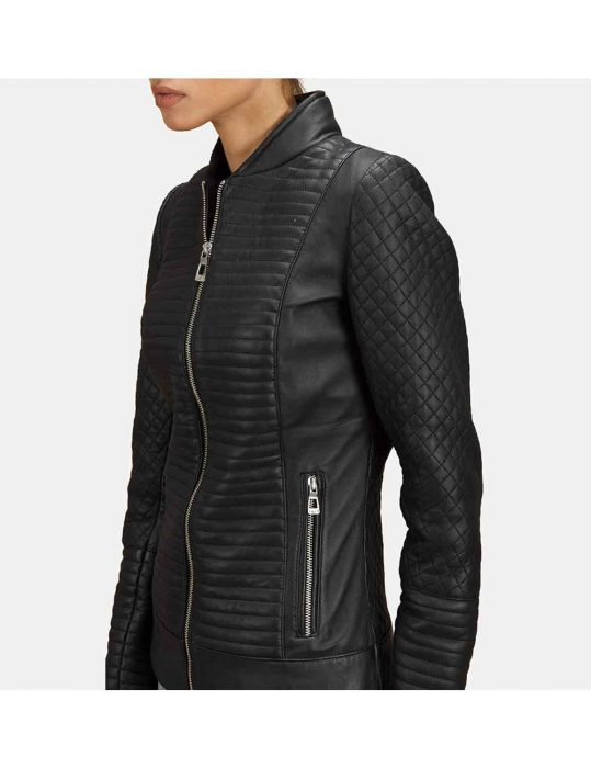 quilted biker womens jacket