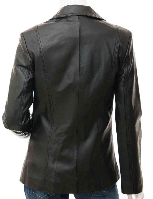 black women's leather blazer