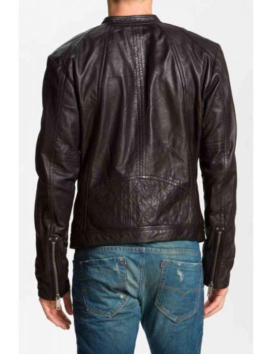 blackish brown leather jacket