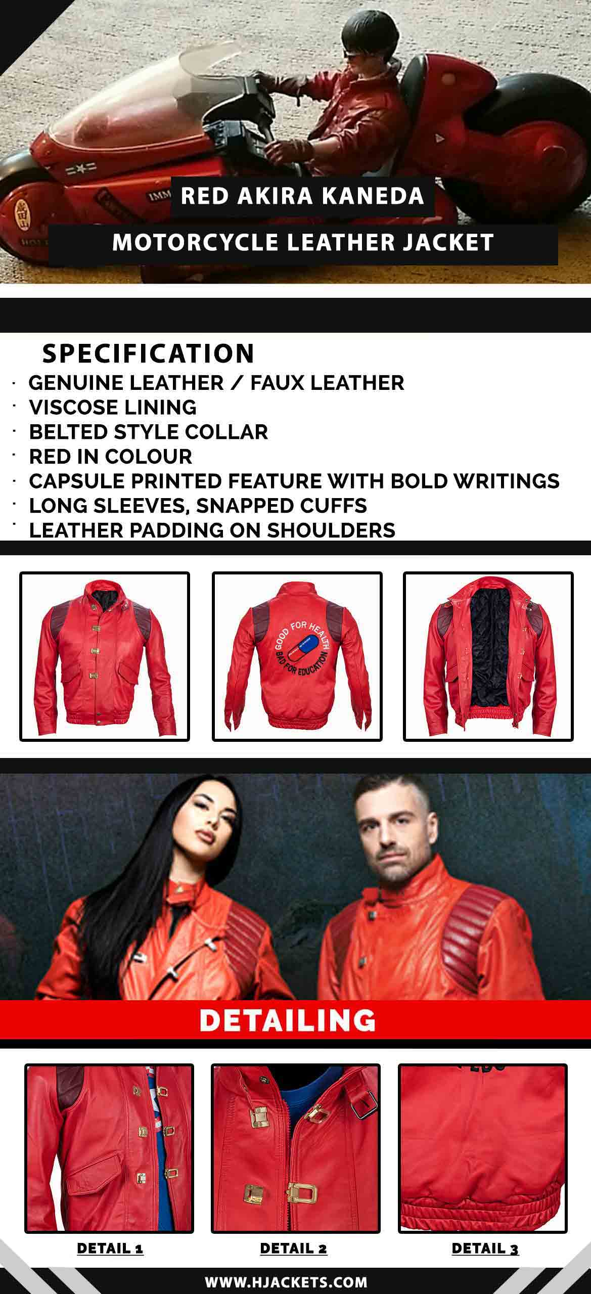 Red Akira Kaneda Motorcycle Leather Jacket Infographic