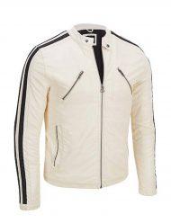 White Cafe Racer Biker Motorcycle Leather Jacket