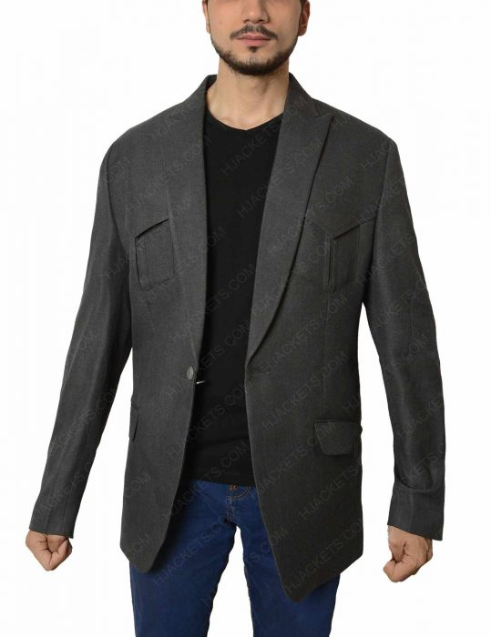 agent champagne grey wool blend jacket