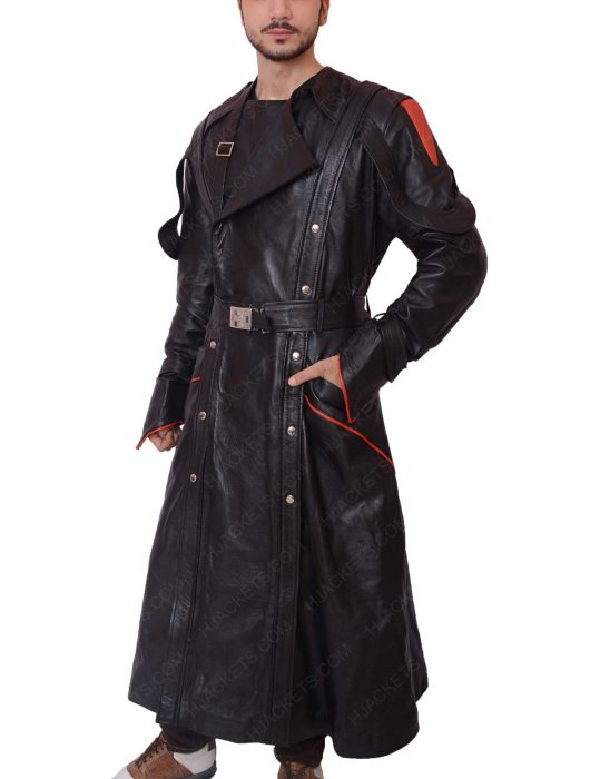 red skull leather trench coat