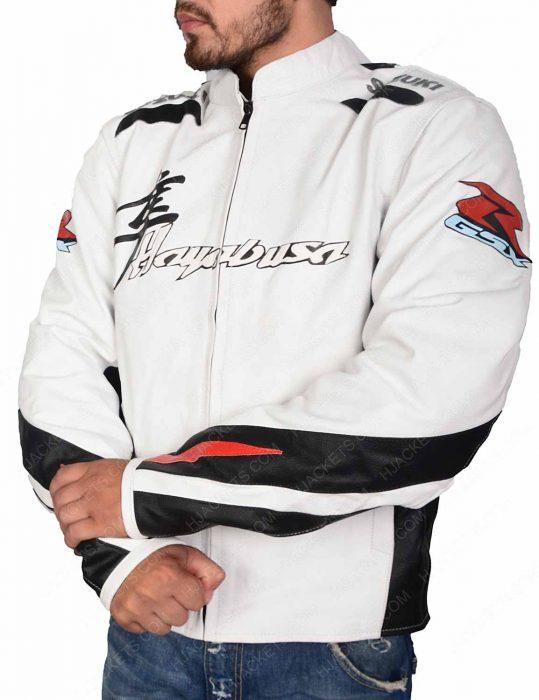 Hayabusa White Leather Motorcycle Jacket