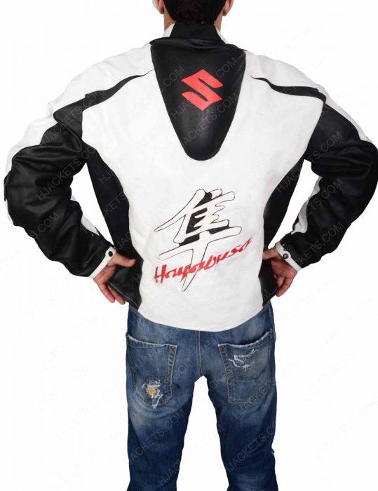 white leather motorcycle jacket