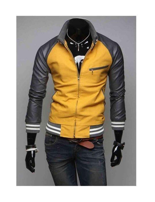 mustard yellow leather jacket