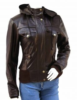 glossy brown womens bomber jacket
