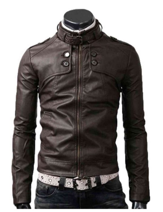 slim dark brown jacket