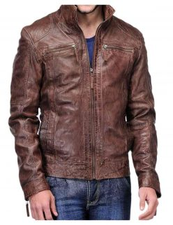 men's distressed brown leather jacket