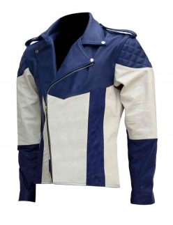 blue and white leather motorcycle jacket