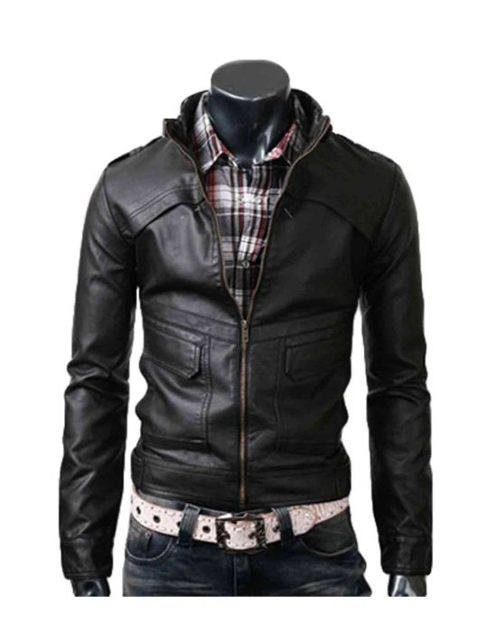 strap slim black jacket