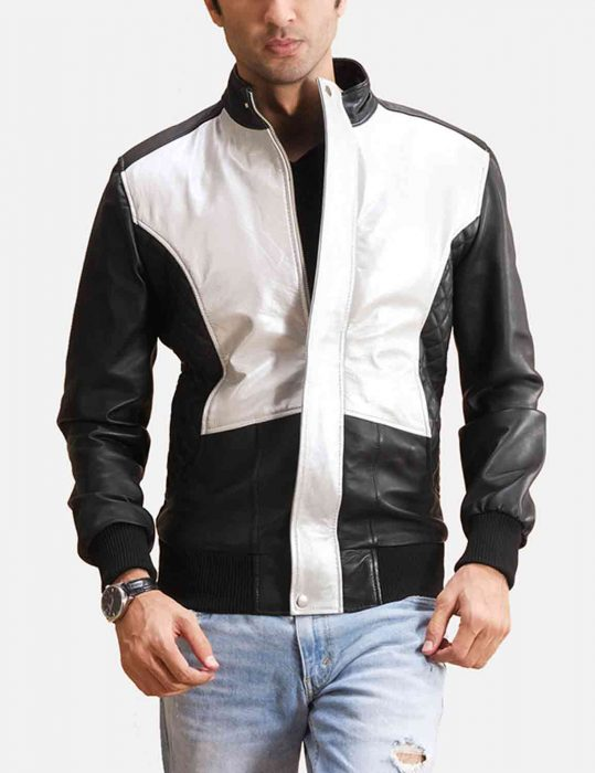 spade silver black leather bomber jacket