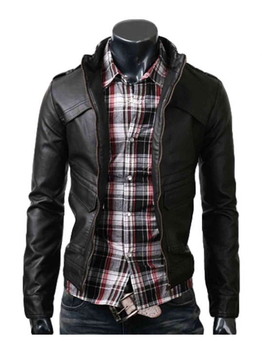 slim mens black leather jacket