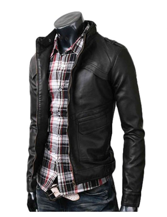 strap slim fit black jacket