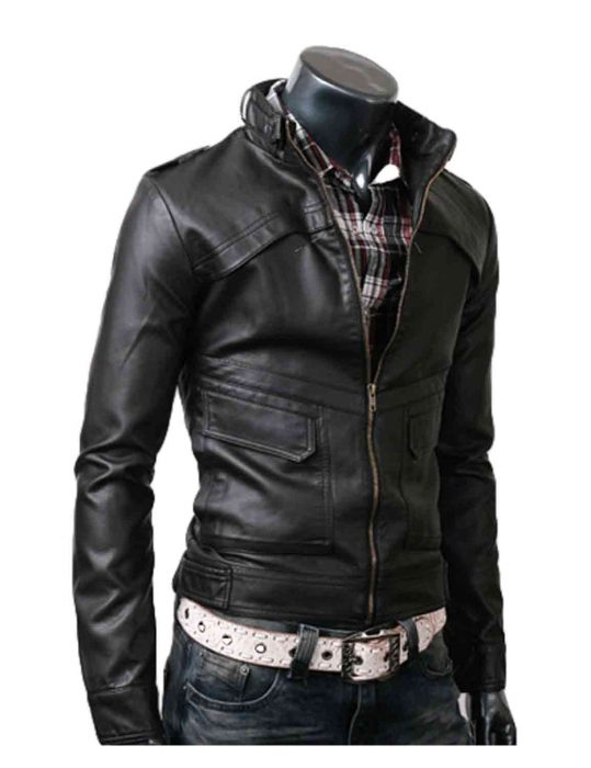 strap slim mens black leather jacket