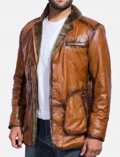 brown fur leather coat