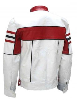 slim fit white leather jacket