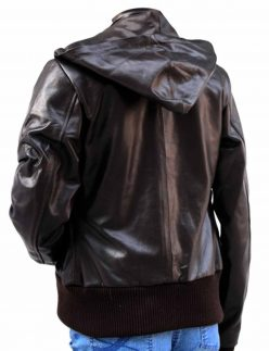 womens glossy brown bomber leather jacket