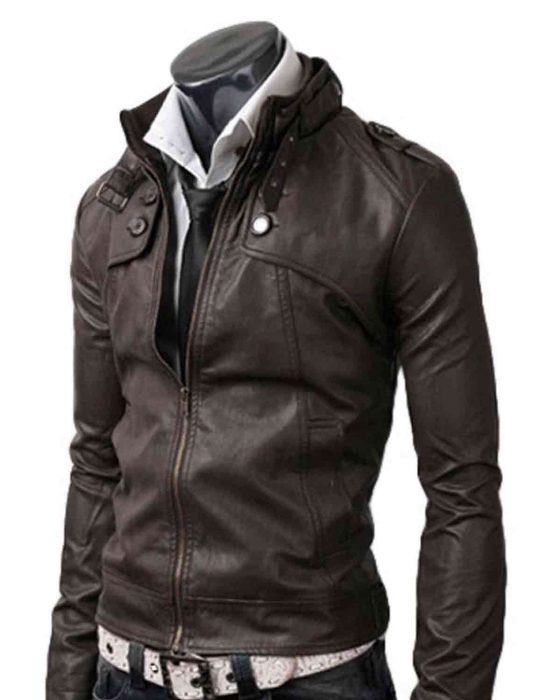 dark brown slim leather jacket