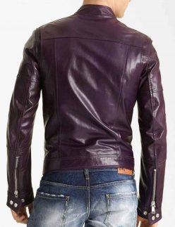 purple leather biker jacket