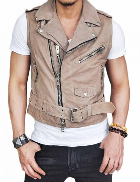 style belted black leather vest