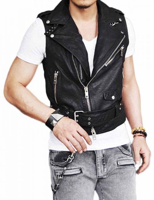 men's belted asymmetrical jacket