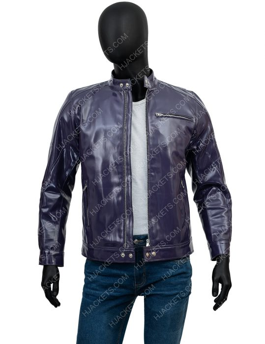 Mens Purple Snap Tab Collar Leather Jacket