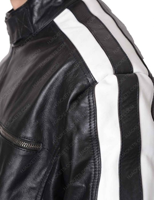 black striped biker leather jacket