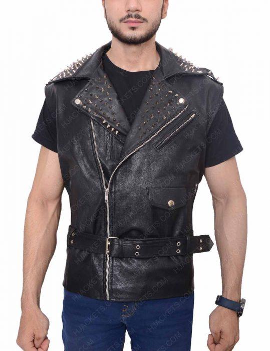 men's belted studded black vest