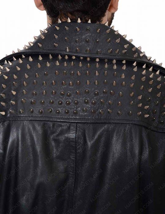 men's studded belted leather vest