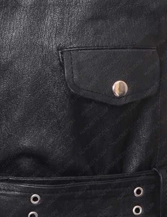 men's studded black leather vest