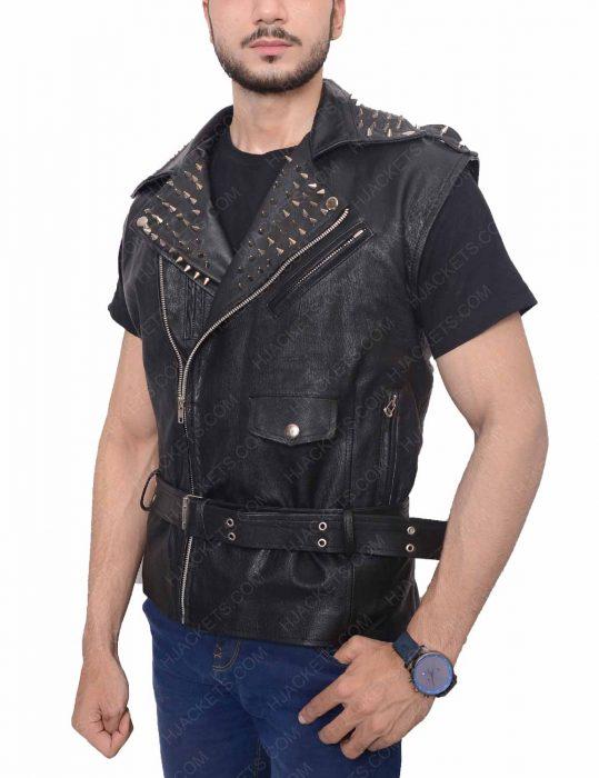 men's studded leather vest