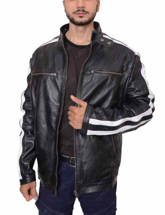 striped biker black leather jacket