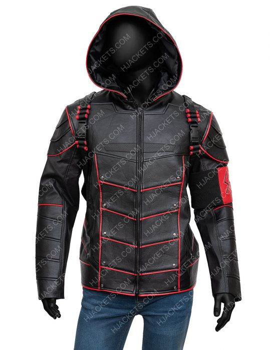 Crisis On Earth-X Arrow Stephen Amell Dark Arrow Hooded Jacket With Quiver