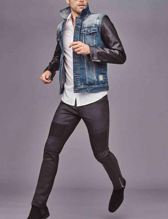 Blue Denim Jacket Mens With Faux Leather Sleeves