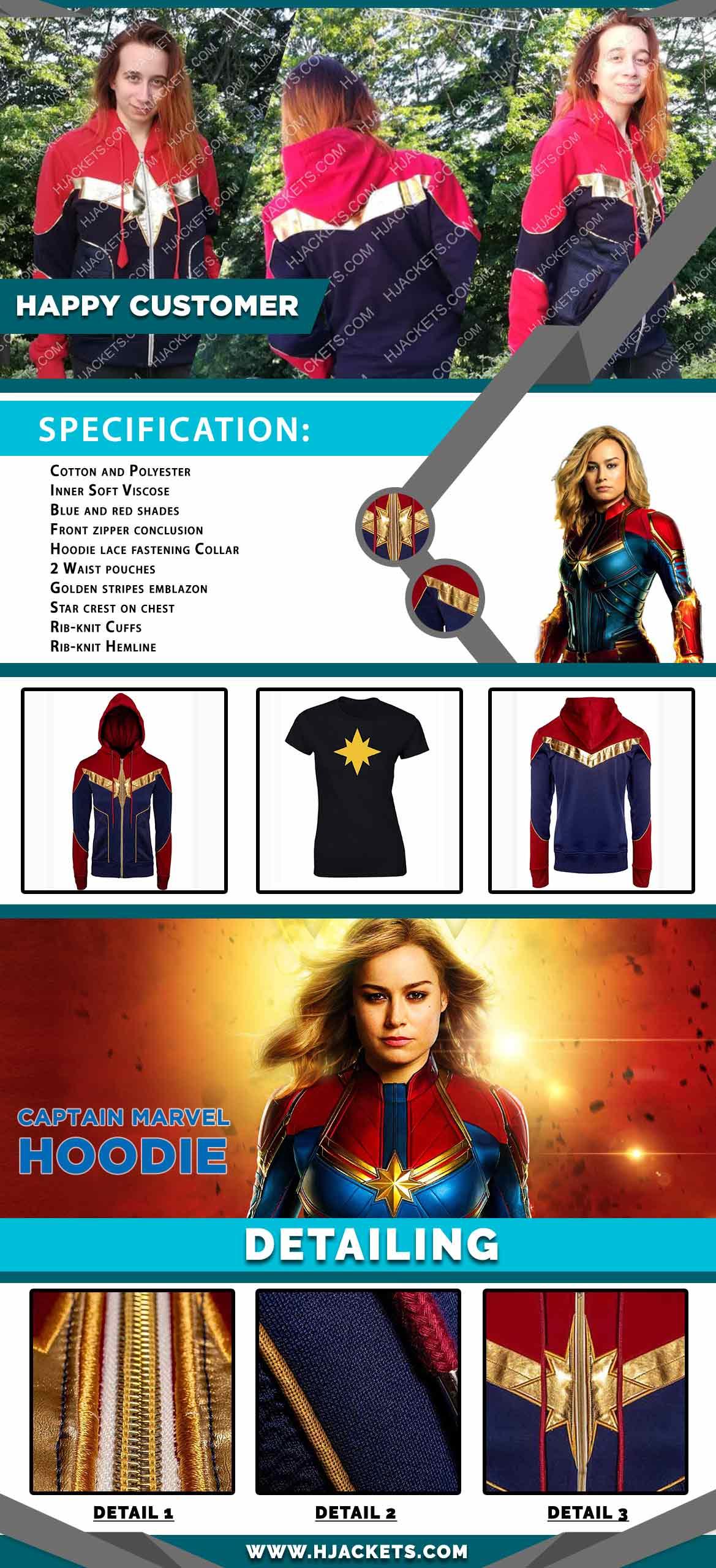 captain marvel hoodie info