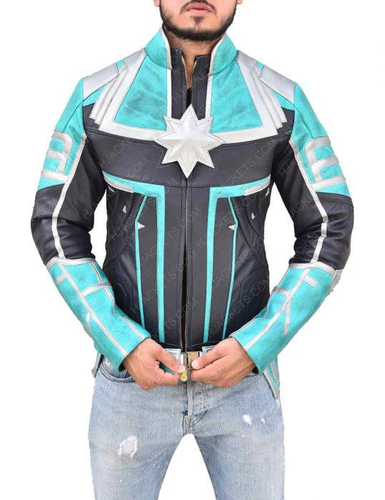 green leather jacket captain marvel