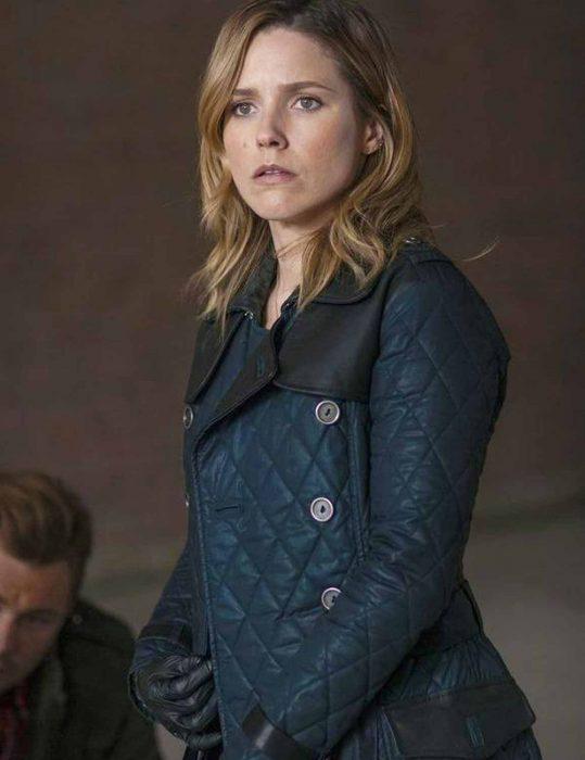 Erin Lindsay Blue Leather Jacket