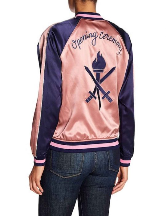 zoey's pink embroidered bomber jacket