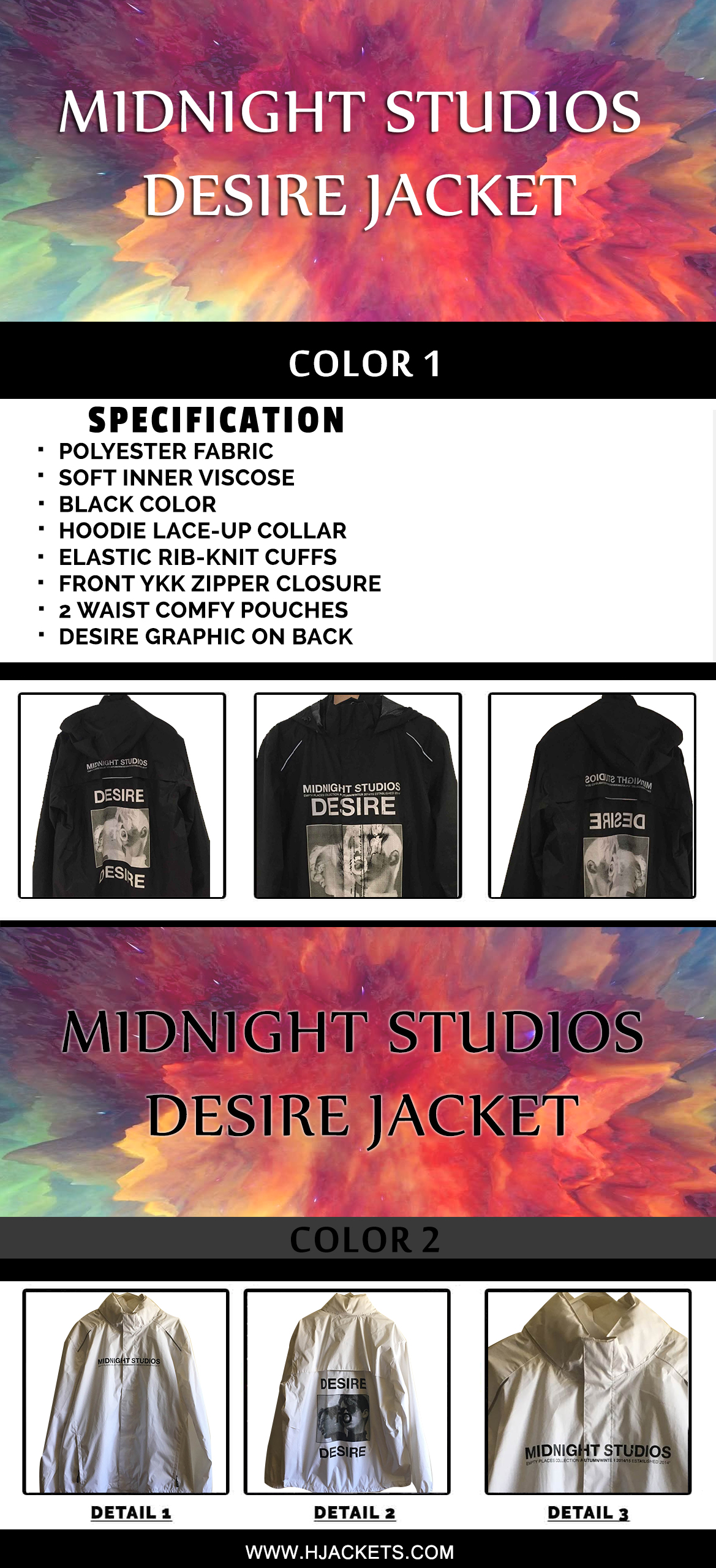 midnight studios desire jacket infographic