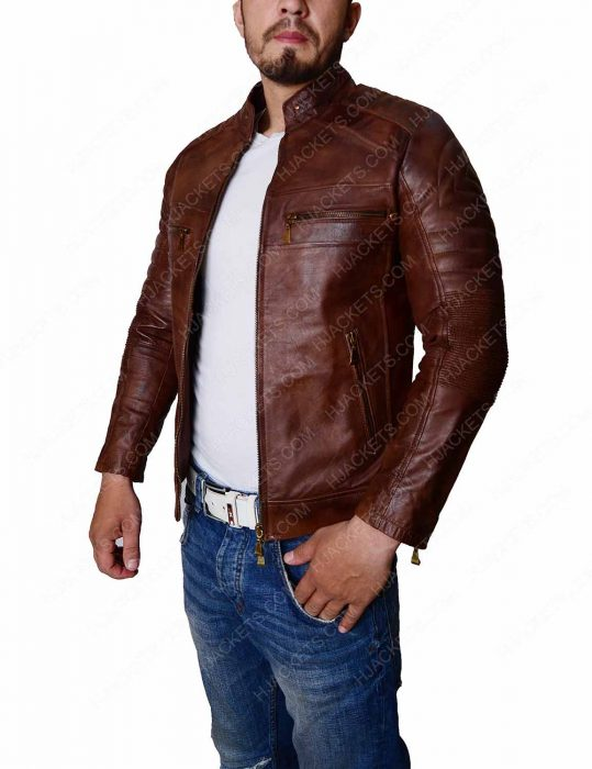 Distressed Cafe Racer Slim Fit Biker Jacket