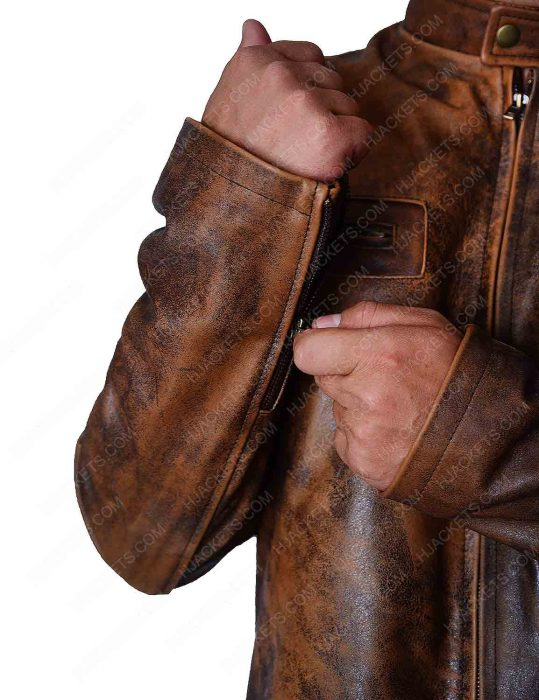 Distressed Mens Leather Jacket