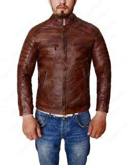 Distressed Leather Brown Jacket