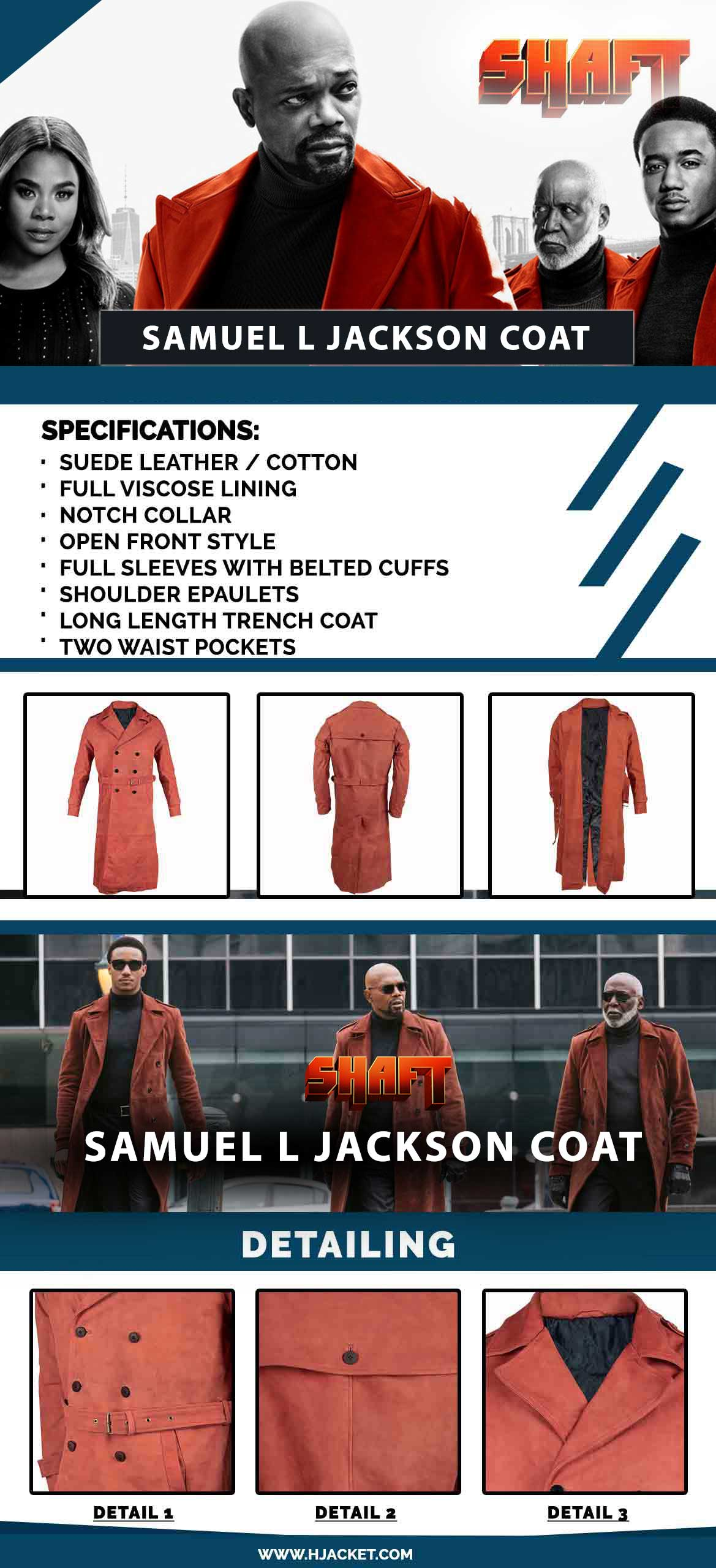 Samuel L Jackson Shaft Maroon Coat