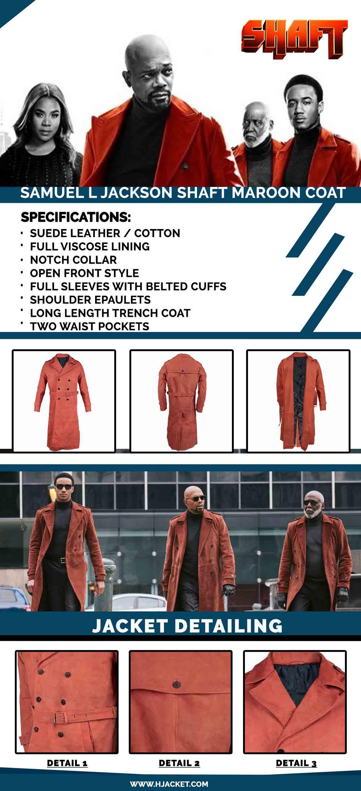 Shaft Samuel L Jackson Maroon Wool Coat
