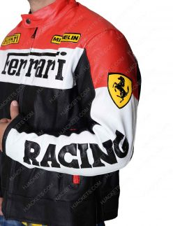 Red and Black Ferrari Biker Jacket